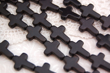 16x12mm Small Howlite Cross Beads in BLACK . Sideways cross, full strand, about 24 beads, how0135