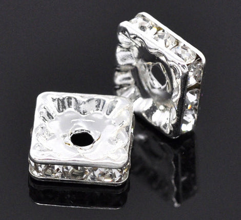 10mm CLEAR Rhinestone Crystal Squaredelle Square Spacer Beads . 10 pieces . bme0230
