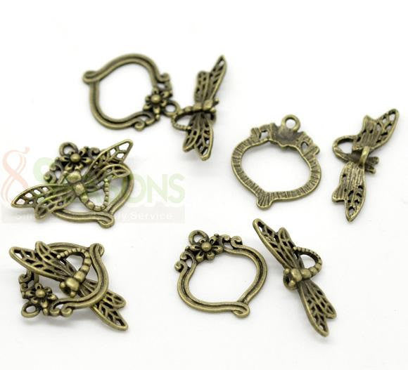Antique Gold Bronze Toggle Clasps  DRAGONFLY DESIGN 4 sets fcl0090