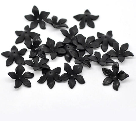 80 Frosted Acrylic Flower Charm Beads . BLACK . Bulk Package bac0257b