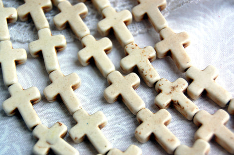 1 strand, 24 Beads Small Stone Cross Beads in WHITE, 16x12mm  Sideways Cross how0140