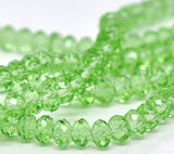 6mm x 4mm KELLY GREEN Faceted Glass Crystal Rondelle Beads . 36 beads  bgl0598