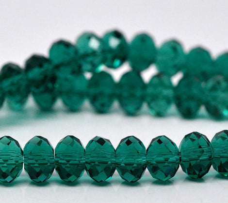 6x4mm MALACHITE GREEN Faceted Glass Crystal Rondelle Beads  36 pieces  bgl0548