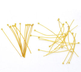 "300 Gold Plated High Quality Ball Head Pins, 1.75"" long (45mm)  22ga  22 gauge pin0069b"
