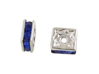 6mm ROYAL BLUE Rhinestone Crystal Squaredelle Square Spacer Beads . 10 pieces . bme0227