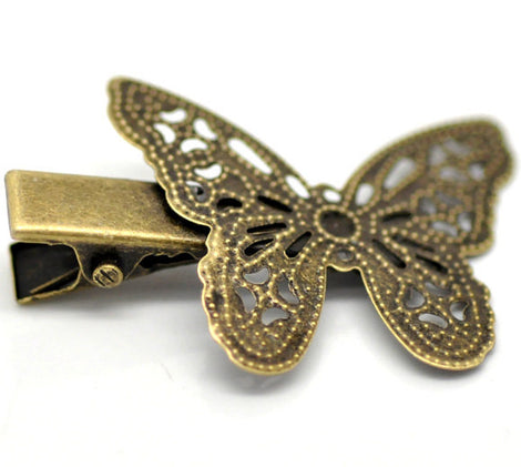 4 Antique Gold Bronze Filigree Metal BUTTERFLY Alligator Clips, great for embellishing  fin0055