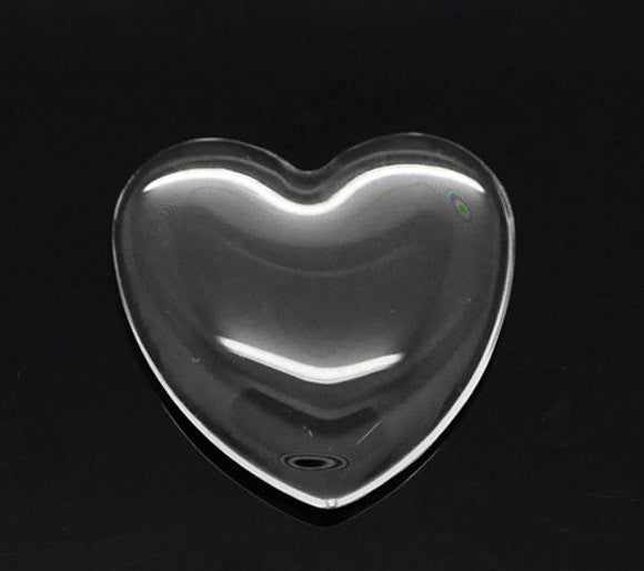 "20 Clear Heart Glass Dome Seals 25x25mm (1""x1"") for Cabochons Pendants, Charms, Scrapbooking cab0169"