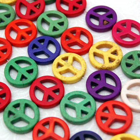 1 strand Synthetic Howlite Stone Beads PEACE SIGN  20mm, mixed colors  how0120