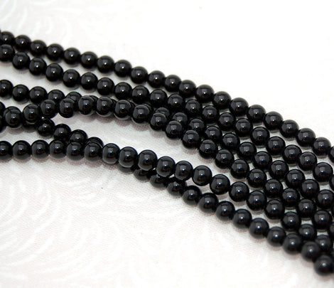 3mm Round BLACK ONYX Beads, Natural Gemstones, full strand, gon0029