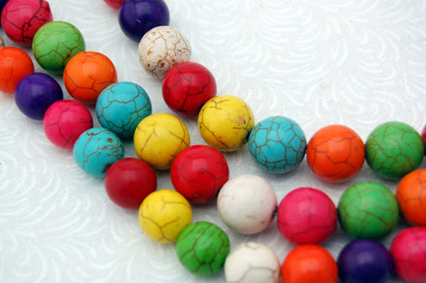 1 strand Synthetic Howlite Stone Beads ROUND BALL 14mm, mixed colors how0254