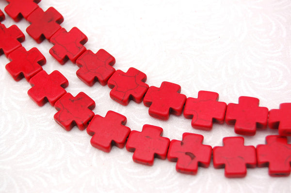 1 strand Synthetic Howlite Stone Beads RED MALTESE CROSS 15mm how0187