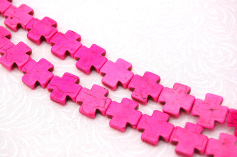1 strand Howlite Stone Beads PINK MALTESE CROSS 15mm how0009