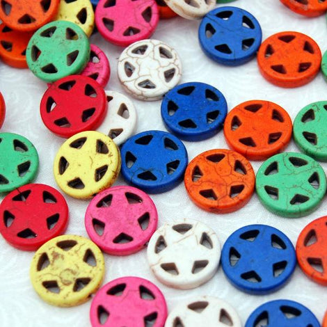 Howlite STAR Beads MIXED Colors STARS inside CIRCLES 20mm, strand, how0112
