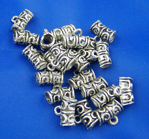 10 Antique Silver Tone Pewter Swirl Filigree Pattern Tube Spacer Beads with Bail. 11mm x 5mm FBA0005
