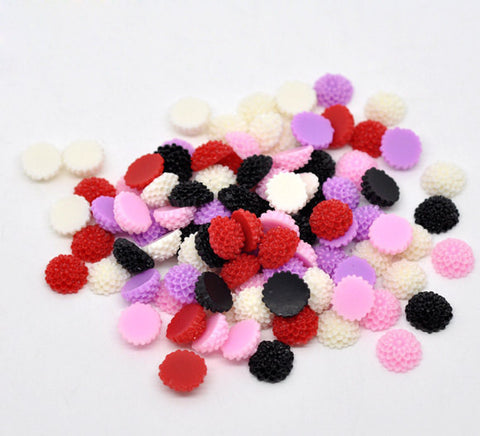 20 Mixed Color Daisy Chrysanthemum Resin Acrylic Flower Cabochons  10mm diameter  cab0153