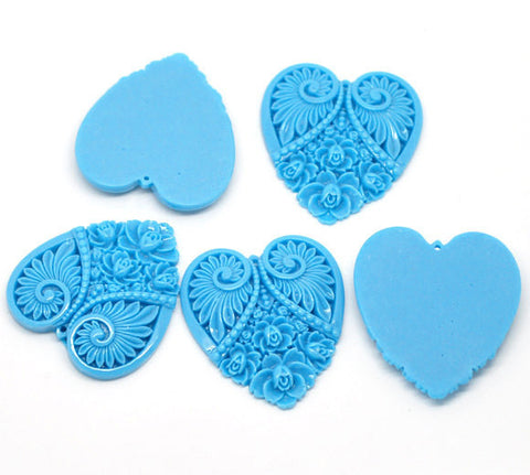 "2 Large Resin Heart Medallion Pendants  2"" x 1.75"" (50x45mm) TURQUOISE BLUE  cab0091"