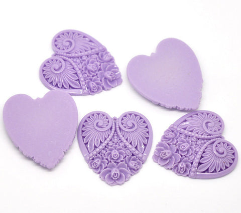 "2 Large Resin Heart Medallion Pendants  2"" x 1.75"" (50x45mm) LAVENDER PURPLE  cab0087"