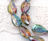 6 Crystal NORTHERN LIGHTS AB Coated Teardrop Beads, Sculpted Detail, unique cut, hard to find  bgl0561