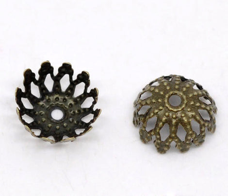 30 Antique Bronze BRASS Filigree Bead Caps Findings 8mm  fits 8-9mm beads fin0112a