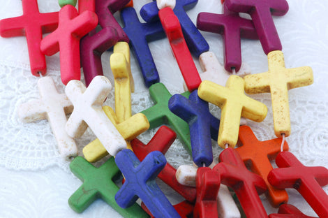 16.5 Inch Strand Stone Cross Beads . Mixed Bright Colors . Sideways Cross . 36mm x 26mm, how0341