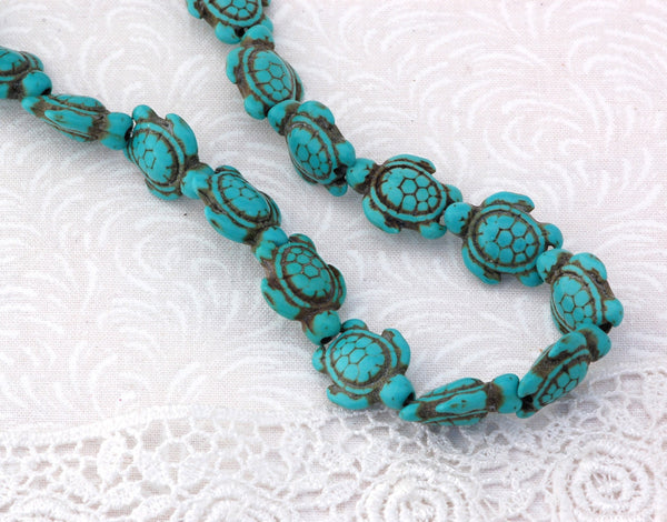 "1 Strand 15.5"" Turquoise Blue Stone TURTLE Carved Gemstone Beads . 24 beads . How0029"