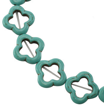Turquoise Blue Stone SMALL OPEN FLOWERS Gemstone Beads . 1 long strand . approx 20 beads . carved stone . how0027