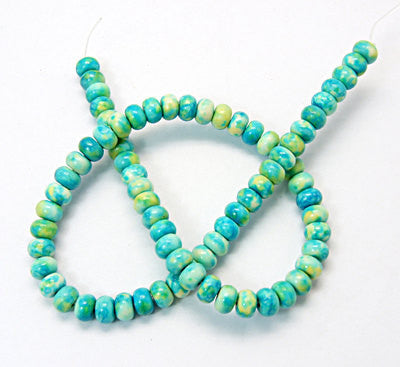 "15.5"" Strand Dyed RONDELLE Gemstone Beads 6x8mm . blue green yellow white turquoise  HOW0125"