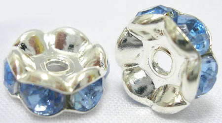 7mm DENIM BLUE Rhinestone Crystal Spacer Rondelle Beads . 10 pieces . Scalloped Edge . bme0209