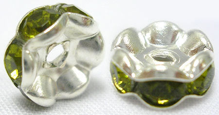 8mm OLIVE FOREST GREEN Rhinestone Crystal Spacer Rondelle Beads . 10 pieces . Scalloped Edge . bme0192