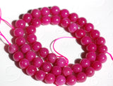 "10mm RASPBERRY PINK Magenta Round Dyed Jade Gemstone Beads . 15.5"" strand . about 41 beads gjd0121"
