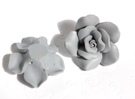2 Large SILVERY GREY Polymer Clay Rose Beads pol0028