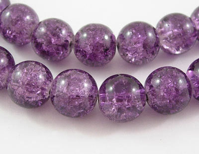 30 Crackle Glass GRAPE PURPLE Solid Color Round Glass Beads . 10mm . always shipped from the usa . bgl0326