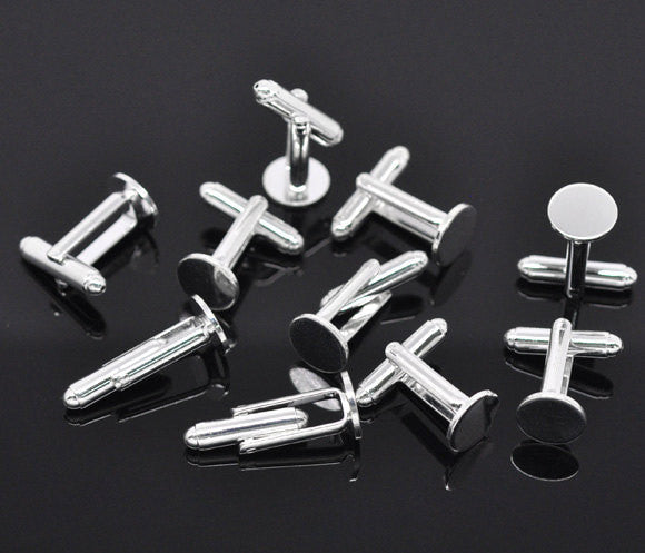 2 pair (4 total) SILVER PLATED CUFFLINKS Cuff Links with 10mm Pad . fin0042