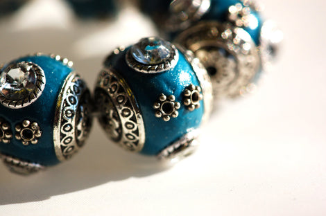 4 Unique Large TURQUOISE TEAL BLUE Indonesian Clay Beads, Crystals and Bali Accents pol0078