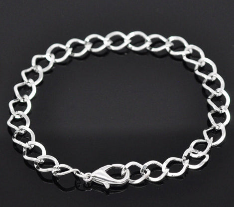 12 Silver Plated Charm Bracelet Chain, Curb Link Chain Charm Bracelets  20cm . 8 inches long  fch0001