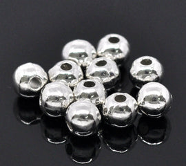 100 Bright Silver Plated Metal ROUND 6mm Smooth Beads bme0086