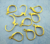 60 Bright GOLD PLATED Metal Lever Back Earrings Ear Wires (30 pairs) . shipped from USA . fin0279