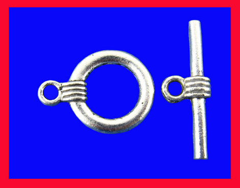 20 Sets CIRCLE TOGGLE Clasps . Silver Tone Metal   fcl0050b