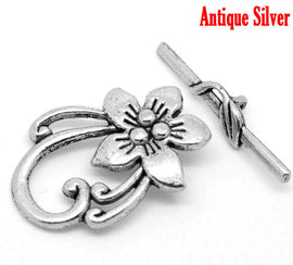 5 Sets Antique Silver Fancy Toggle Clasps . Flower Lily Design  fcl0046