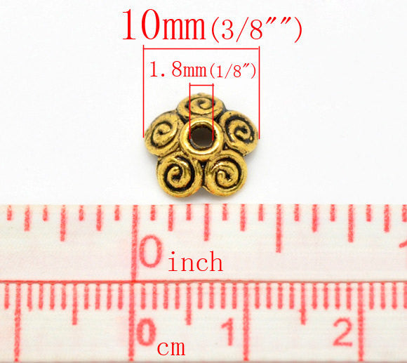 100 Antiqued Gold BRASS SWIRL Bead Caps Findings 10mm fin0088b