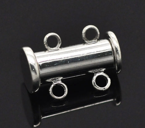 2 Magnetic 2-strand SILVER PLATED Slider Connector Clasps, 15x10mm  for Multi Strand Bracelets and Necklaces fcl0076