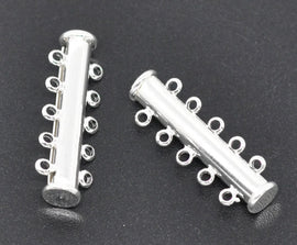 2 Magnetic 5-strand SILVER PLATED Slider Connector Clasps, 30x10mm  for Multi Strand Bracelets and Necklaces fcl0012