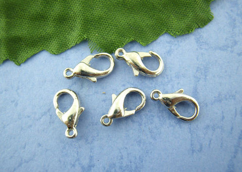 100 pcs Antiqued SILVER Tone Lobster Clasps . 12mm x 6mm  fcl0036