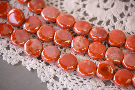 1 Strand SUNSET ORANGE Ceramic Porcelain COIN Beads . approx 20 pearlized beads . carved  16-17mm  bgl0641