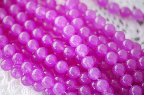 "8mm ORCHID PURPLE Round Dyed Jade Gemstone Beads . 15.5"" strand . about 50 beads gjd0039"