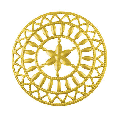 10 Large BRIGHT GOLD Colored Filigree Metal Iron Medallion  STAR  48mm . fil0027