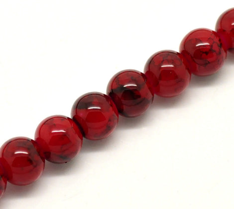 8mm Red Glass Beads, Black Marbled Swirl Pattern,100 beads, bgl0752