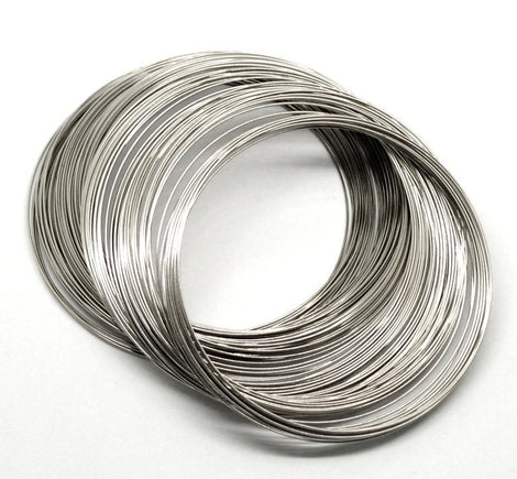 "200 Silver Tone Metal Memory Wire Loops (20 gauge)  65mm-70mm . small bracelet, about 2-5/8"" diameter  wir0004"