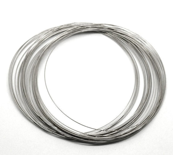 "200 Silver Tone Steel Thin Metal Memory Wire Loops (22 gauge)  100mm-105mm . choker length or small necklace, about 4"" diameter . Wir0008"