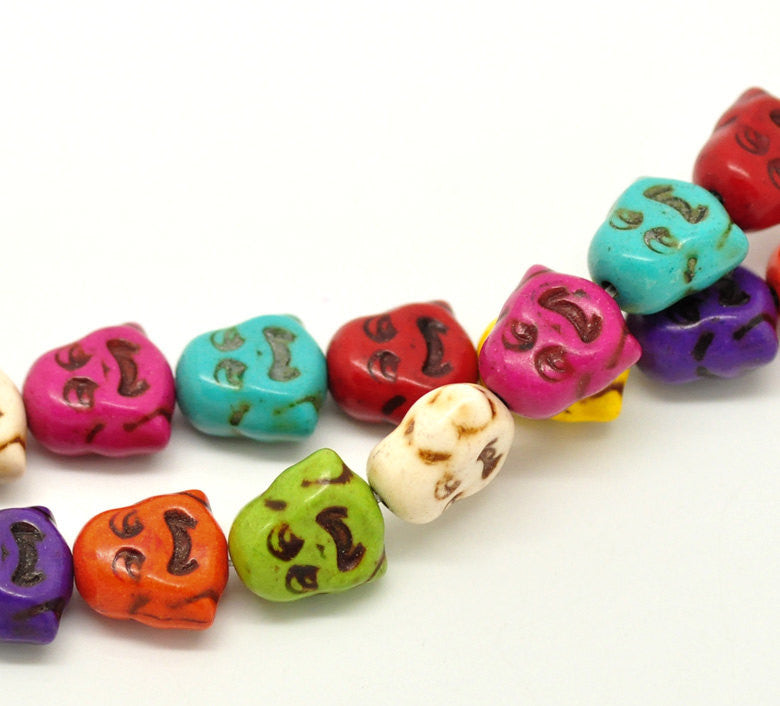 "15"" Strand Dyed Stone SMILING BUDDHA Beads in Bright Colors . 26 beads in mixed colors  .  15x14mm (5/8""x1/2"") how0142"